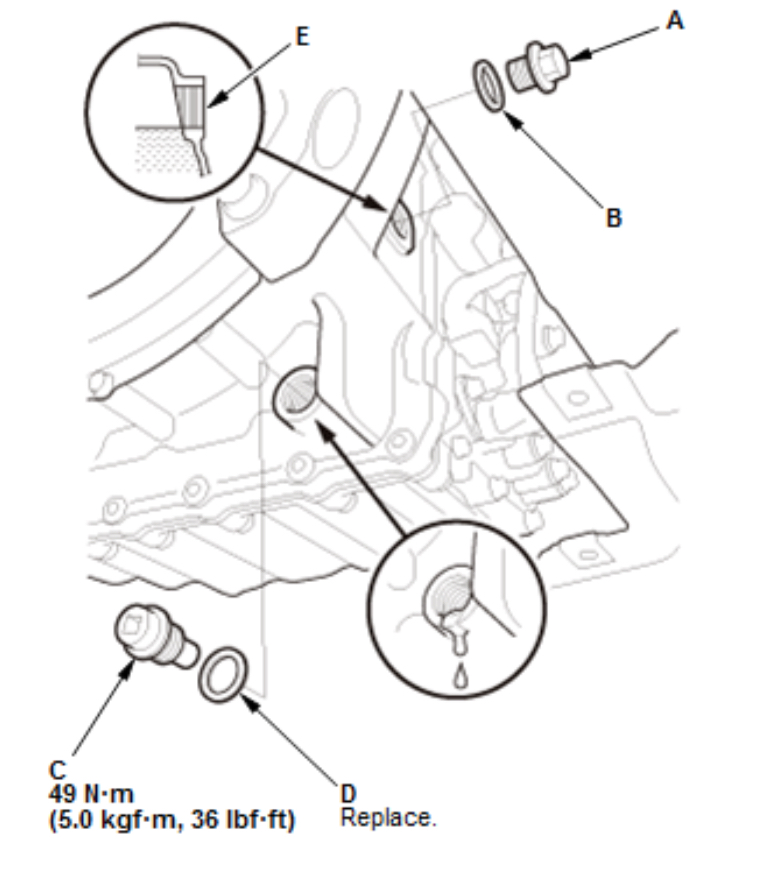 Transmission Fill Bolt Location